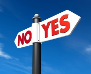 Roadsign with arrows that says 'yes' and 'no'