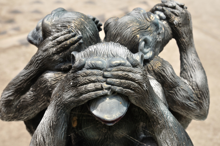 Three wise monkeys or Three Mystic Apes sacred ancient icon - salesSHIFT